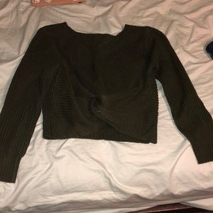 Olive green knotted sweater